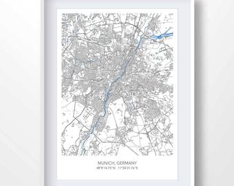 Map of munich | Etsy