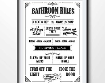 Toilet Rules Poster Bathroom Print Funny Quote Toilet Sign