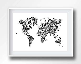 Cat world map etsy world map cats map of the world cats kitty black and white feline cartography 6008 gumiabroncs Choice Image