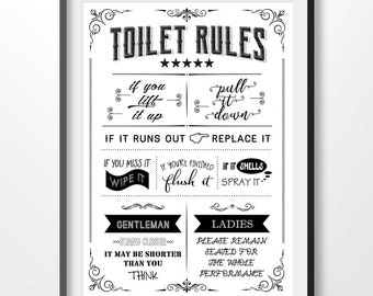picture about Printable Bathroom Rules called Rest room regulations signal Etsy