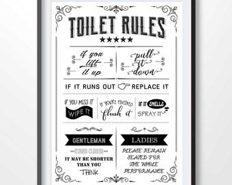 Flush toilet print | Etsy