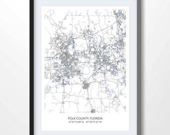 Winterhaven Florida Map.Winter Haven Map Etsy