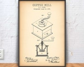 COFFEE MILL patent print, coffee mill blueprint, coffee poster, kitchen decor, bar sign, restaurant wall, cafe decor, coffee making, 1142