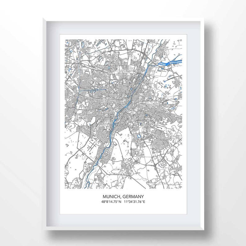 München Karte Deutschland.München Karte Karte Von München München Stadtplan Drucken München Minimalistische Plakat Deutschland Stadt Kunst Deutschland Wand Kunst