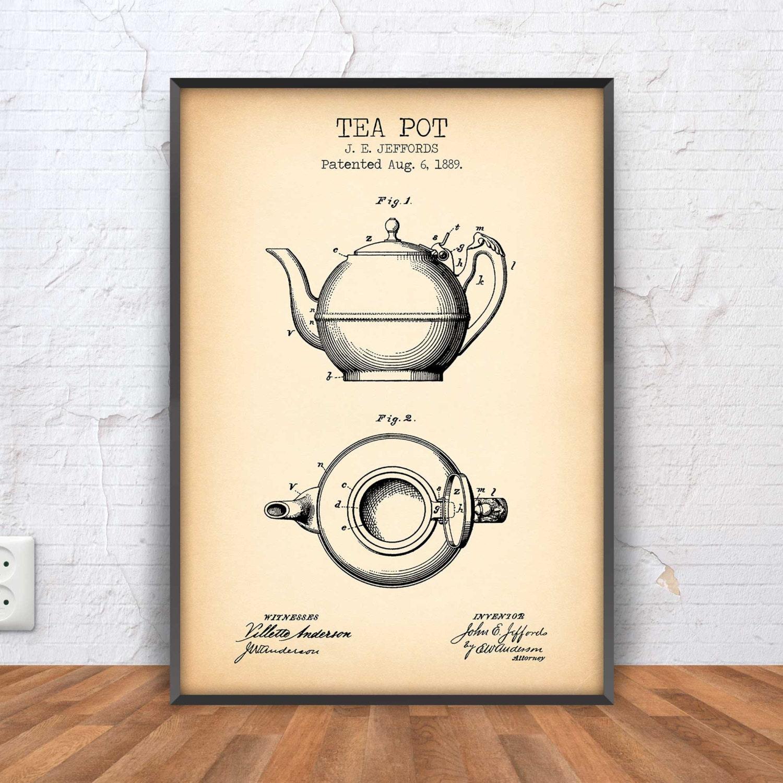 Teekanne Patent print Tee Topf Plakat Tee Topf Blaupause   Etsy