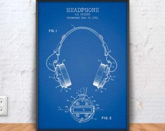 HEADPHONES patent print, headphones poster, headphones printable, headphones blueprint, headphones illustration, #1306