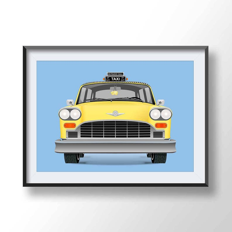 Poster New York Taxi.Yellow Cab Poster New York Taxi Printcab Illustration Taxi Etsy