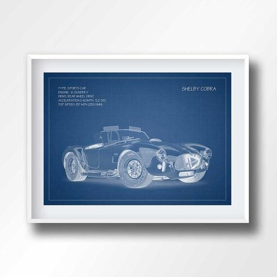 SHELBY COBRA Plan Shelby Cobra Plakat Druck-Sportwagen
