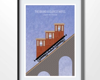 GRAND BUDAPEST HOTEL funicular, funicular print, wes anderson illustration, grand budapest print, 2204