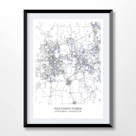 Polk County Florida Map Map Of Polk County Florida Town Map Etsy