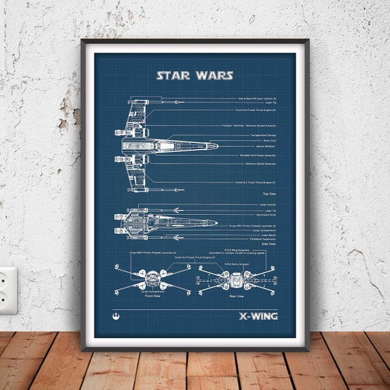 X wing fighter poster star wars print star wars blueprint malvernweather Images