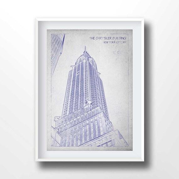 Chrysler Building Blauwdrukken Oude Tekening New York Etsy