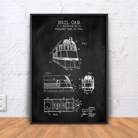 BAHN AUTO patent Print Waggon-Plakat Waggon-Blaupause