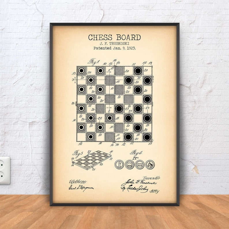 image about Printable Chess Board titled CHESS BOARD poster, chess patent print, chess printable, chess board blueprint, chess wall artwork, chess decor, chess example, #1158