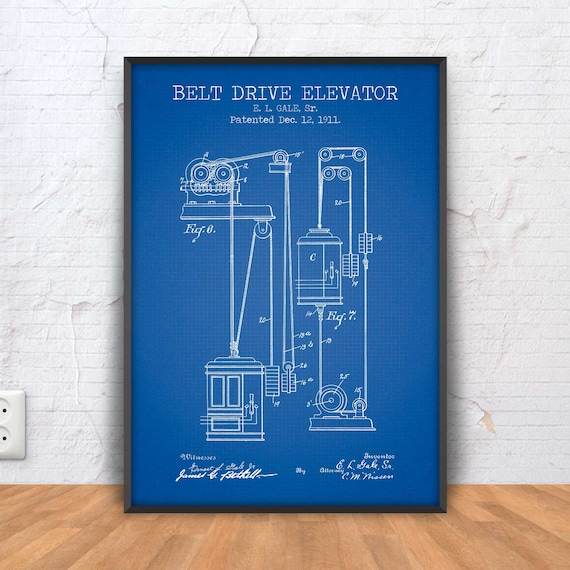 Elevator patent print elevator poster elevator blueprint malvernweather Image collections
