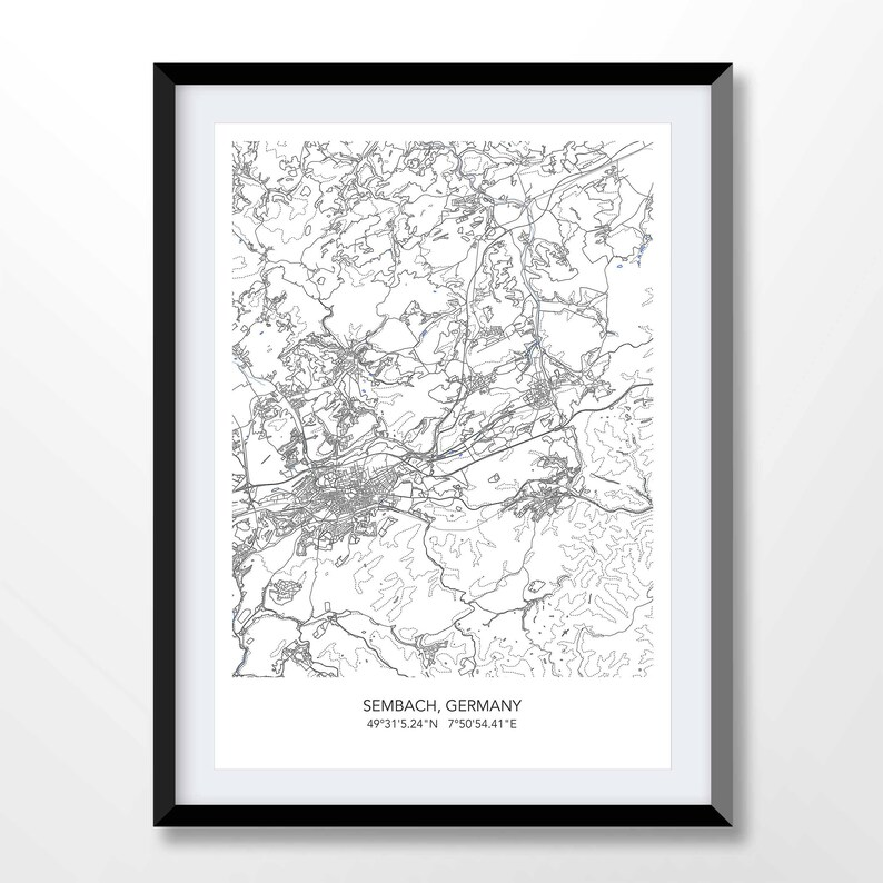 Map Of Germany Ramstein.Sembach Map Ramstein Map Map Of Military Base Germany Town Map Sembach Print Germany Minimalist Poster City Art Germany Gifts 6071
