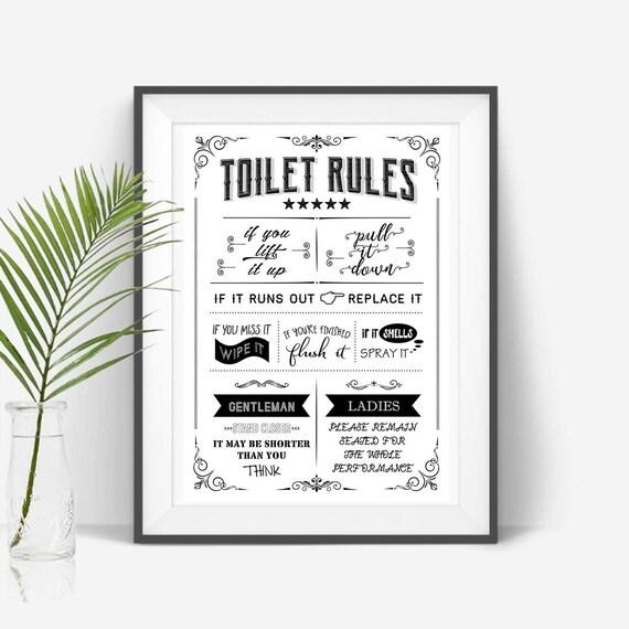 Toilet Rules Poster, Bathroom Print, Funny Quote, Toilet Sign, Restroom  Decor, WC Sign, Bathroom Printable Art, Flush Toilet Digital File