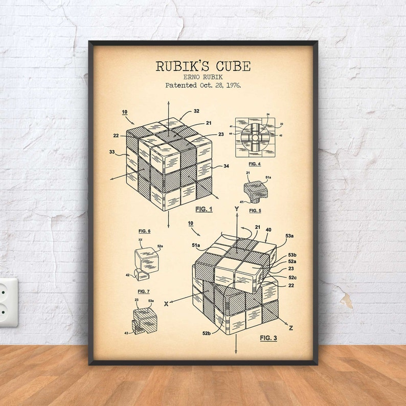 Rubiks Cube Patent Poster Rubik Cube Blueprint Drawing Vintage Toy Patent Kids Room Decor Logic Toy Poster Office Decor Nursery Wall