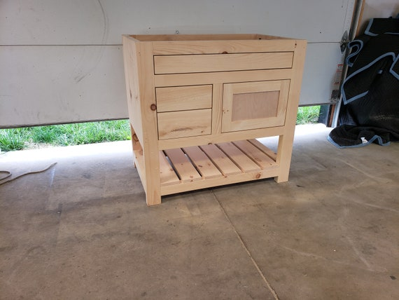 Ready to be stained the color of your choice and shipped!! - Custom vanity