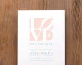 LOVE Statue Symbol, Save the Date, Announcement, Engagement, Philadelphia, Philadelphia-Themed Wedding