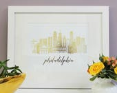 Gold Foil, Philadelphia, Skyline, Print, Home Decor, Art Print, Sketch, Illustration