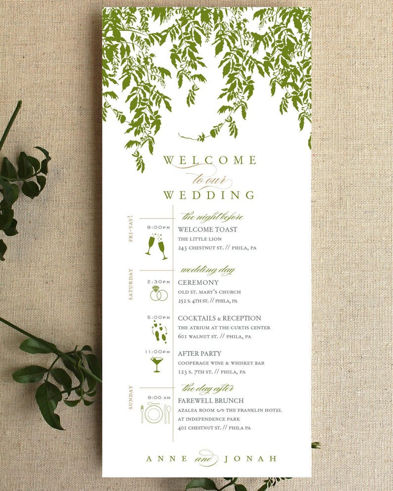 Wedding Day Timeline, Leaves, Garden, Formal, Welcome Bag, Destination  Wedding, Bridal Party, Timeline, Printable, Schedule, Itinerary