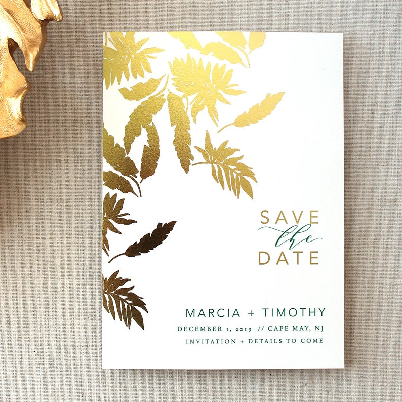 Save the Date Tropical Leaves Gold Foil Announcement image 0