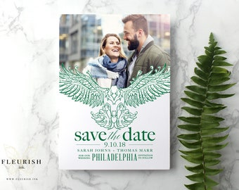 Philadelphia, Philly, Save the Date, Wedding, Photo Card, Postcard, Engagement, Super Bowl, Eagles Theme, Philly Special