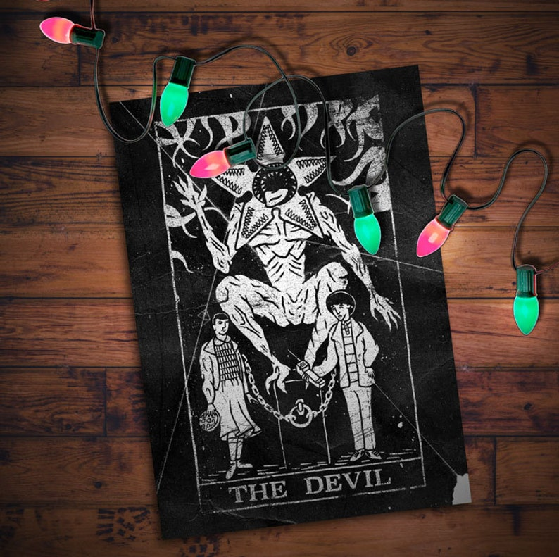The Devil  Stranger Things tarot card print image 0