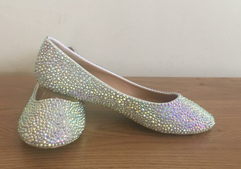 a848d35f594a7 AB Rhinestone flat shoes - Sparkly - Bridal Shoes - Personalised - Wedding  - Prom - Customised Shoes - Crystal - Rainbows - UK Size 3-8