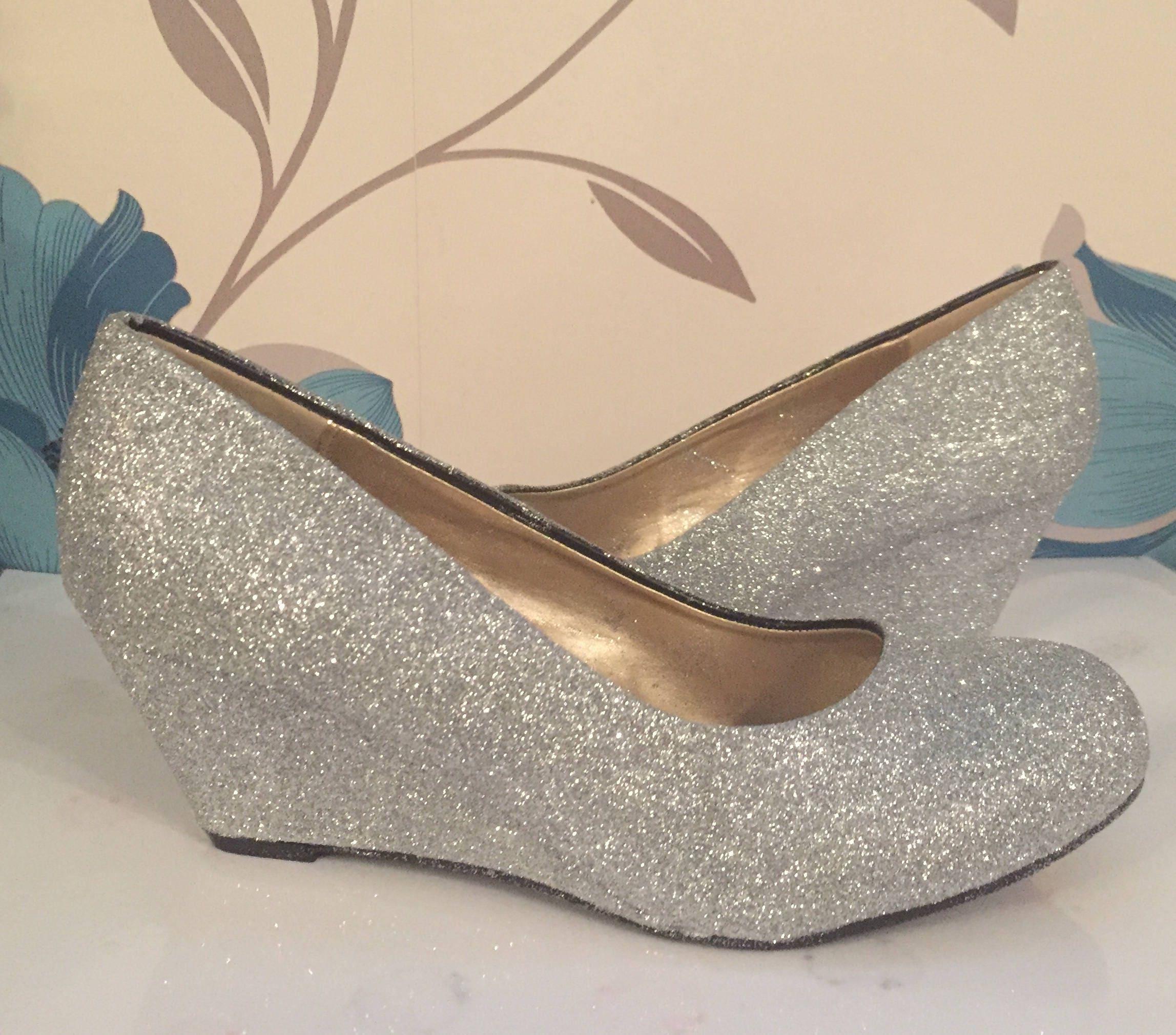 Custom Made Bridal Shoes Uk: Silver Glitter Wedges Silver Bridal Shoes Bridesmaid