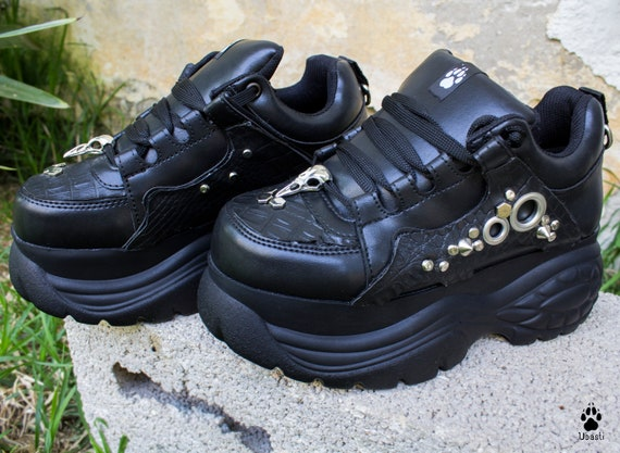 Vegan Goth Wedge Platform Sneakers | Etsy