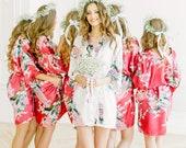Bridesmaid Robes Cherry Color - Bride Robe Silk Satin Bridesmaid Robes Floral - Bachelorette Robes Party - Bridal Robes Set Bridesmaid Robes