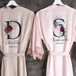 Set Bridesmaid Robes Satin, Bridal Robe Lace, Bridesmaid Robe, Wedding Party Robe, Bride Robe, Set of 4 5 6 7 8 9 Bridesmaid Robes