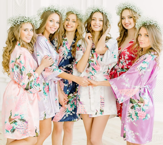 7ca14e7a750 Sale Silk Bridesmaid Robes Bridesmaid Gifts Floral Robe