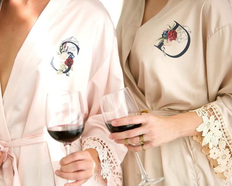 Set Bridesmaid Robes Satin Bridal Robe Lace Bridesmaid image 0