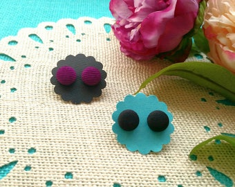 Black Twill and Magenta Corduroy Covered Button Stud Earrings