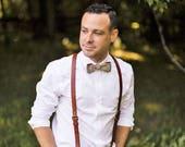 Personalized Leather Suspenders · Wedding Suspenders · Brown Suspenders · Men's Suspenders · Brown Groom & Groomsmen Suspenders