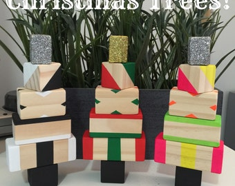 Wooden Block Christmas Tree