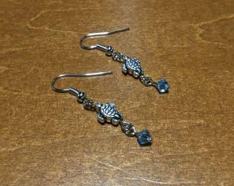 Blue Turtle Drop Earrings