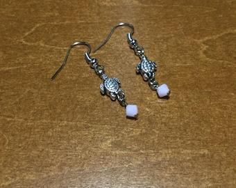 Pink Turtle Drop Earrings