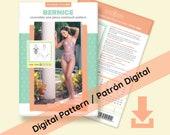 DIGITAL Reversible Halter One Piece Swimsuit Bernice - PDF Swimsuit Swimwear Bikini Pattern - All sizes included