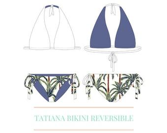 4b36afa780e0e Reversible Halter Top and Side Tie Bottom Bikini - PDF Swimsuit Swimwear  Bikini Pattern -All sizes included