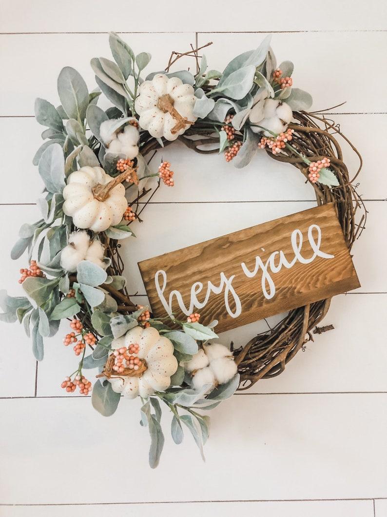 Pumpkin wreath/hey yall wreath/ fall wreath/pumpkin image 0
