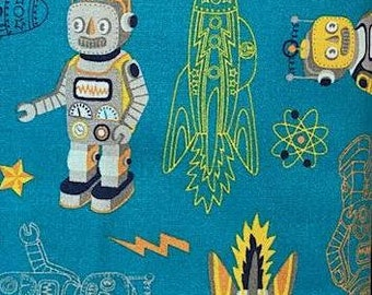 Robots and Rockets Atomic Bot Navy 77503-B by Silvia Dekker for South Sea 100/% Premium Quilting Cotton Fabric