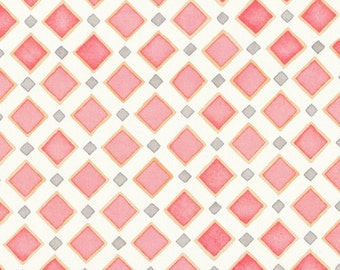 Pink and White Diamonds - Cloud 9 - Organic Cotton Fabric  - Malaga Cove - Palos Verdes Voile - Pink and Grey
