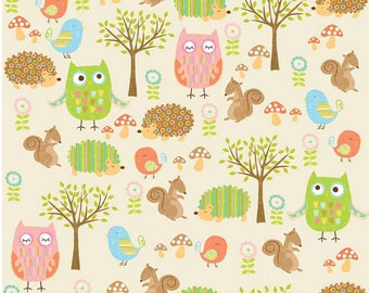 "Owls & Co Friends Cream for Riley Blake -  Woodland Animals - Children's Fabric Owls - Forest Animals - 28"" End of Bolt In Stock"