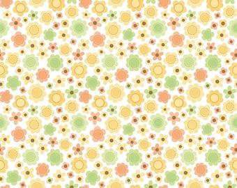 Flower Power - Orange and Green Flowers - Riley Blake Sweet Baby Girl by Doodlebug Designs C4292 - SALE 7.99 Yard - 12 Yards In Stock