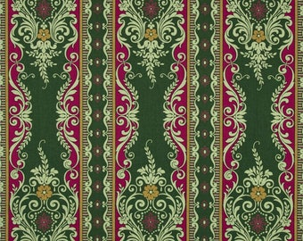 Anna Griffin by 1/2  Yard - Yuletide Greetings Festive Stripe - CF2503-1 -  Red Green Christmas - ZD-57738-001 for Free Spirit - 100% Cotton