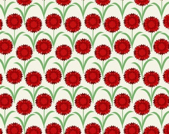 Scarlet Carnation Ohio Deco State Flowers by Jason Yenter for In The Beginning Fabrics - 35 DSF1 OHIO - 10 3/4 Yards In Stock